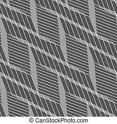 Monochrome pattern with gray striped diagonal interwoven...