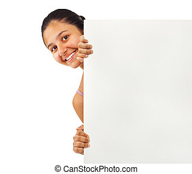 Teen girl holding blank board on white background