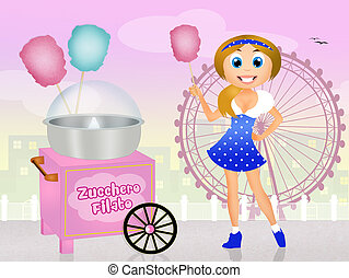 girl sells cotton candy - illustration of girl sells cotton...