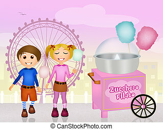 cotton candy cart - illustration of cotton candy cart