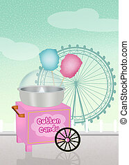 cotton candy cart in the amusement park - illustration of...
