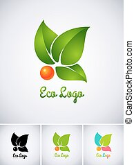 Eco logo with orange berry and green leaves