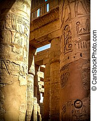 Columns in the Hypostyle Hall at the Temple of Karnak Luxor,...