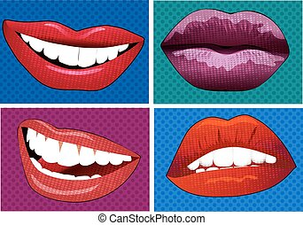 illustration icons in pop art style lips
