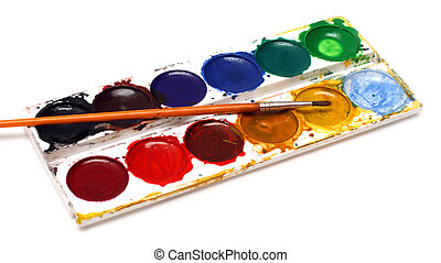 set of water-colour paints and brush isolated on white