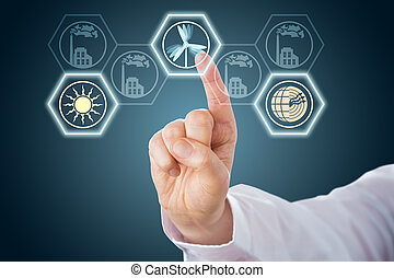 Male Hand Activating Renewable Energy Icons - Index finger...