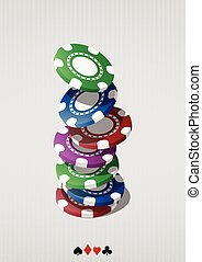 fiches - illustration of falling colorful chips for casino