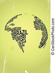 text globe - illustration of text world with colorful...
