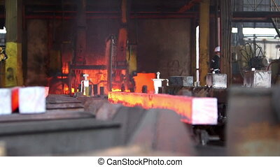 Transfer fiery steel blocks - Detail view of Steel making -...