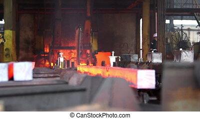 Transfer fiery steel blocks - Detail view of Steel making -...