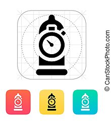 Condom with sex timer icon. Vector illustration.