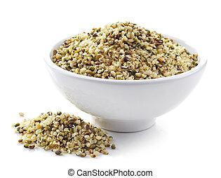 bowl of hemp seeds - bowl of healthy hemp seeds isolated on...