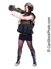 Woman in a military camouflage holding a grenade launcher...
