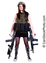 Woman in a military camouflage with two assault rifles...