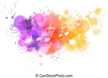 Abstract music background - Music notes on colorful abstract...