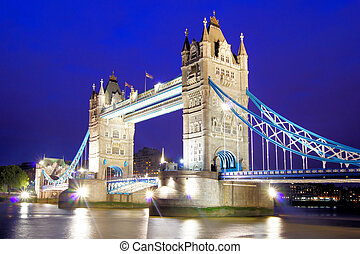 Tower Bridge, London - Iconic Tower Bridge of London lit up...