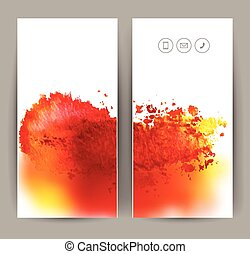 two red banners - set of two banners, abstract headers with...
