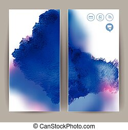 blue banners - set of two banners, abstract headers with...