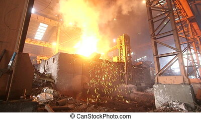 Steel making factory - Melting of the metal at the factory,...