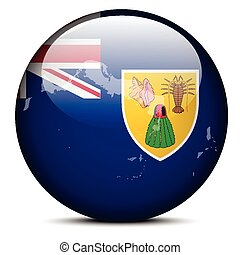 Map on flag button of Turks and Caicos Islands, British...