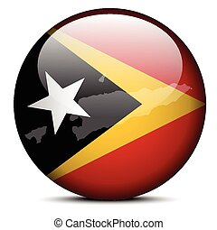 Map on flag button of Democratic Republic Timor-Leste -...
