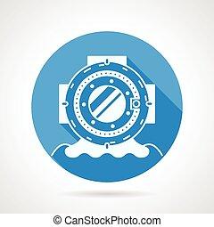 Diving helmet round vector icon