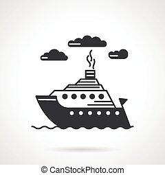 Sea ship black vector icon