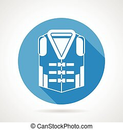 Life jacket round vector icon - Flat blue round vector icon...