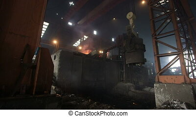 Steel making factory with fire and smoke