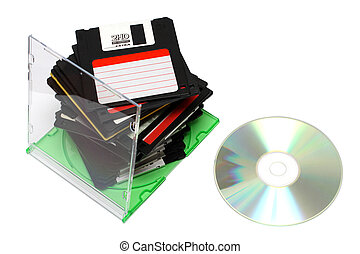 pc media technology progress - one cd dvd disc instead many...