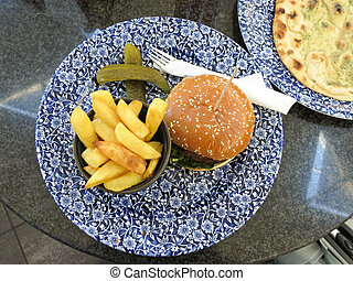 veggie burger and French fries
