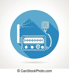 VHF radio station round vector icon - Flat blue round vector...