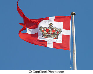 danish flag in the wind
