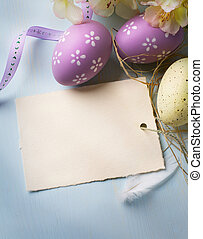 art Easter eggs on wooden background