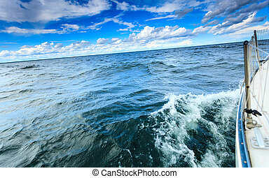 Yachting yacht sailboat sailing in baltic sea blue sky sunny...