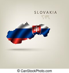 Flag of SLOVAKIA as a country with a shadow - Flag of...