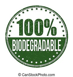 Biodegradable, estampilla,