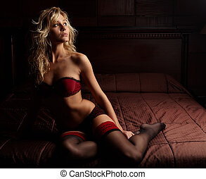 Woman in Lingerie - Young sexy Caucasian adult woman in...