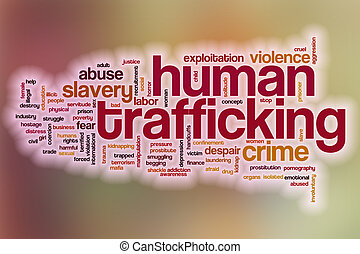 Human trafficking word cloud with abstract background -...