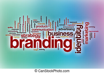Branding word cloud with abstract background