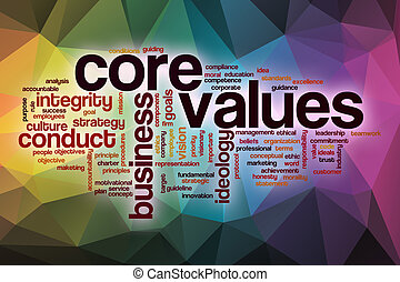 Core values word cloud with abstract background