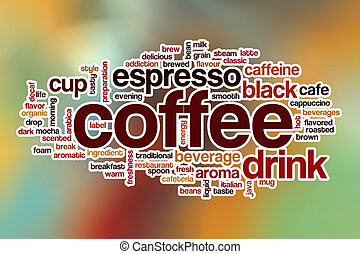 Coffee word cloud with abstract background