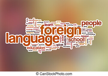 Foreign language word cloud with abstract background -...