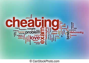 Cheating word cloud with abstract background