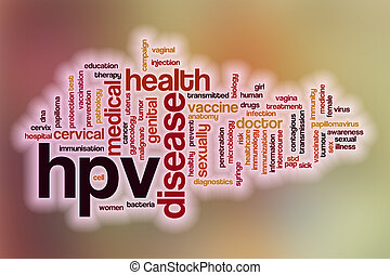 HPV word cloud with abstract background