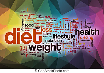 Diet word cloud with abstract background