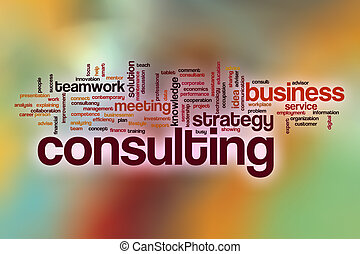 Consulting word cloud with abstract background