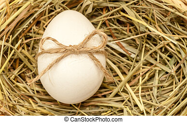 country style easter egg in hay with bowknot - country style...