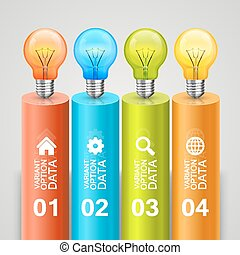Idea of bulbs in the chart Vector illustration