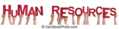 People Hands Holding Red Word Human Resources - Many...